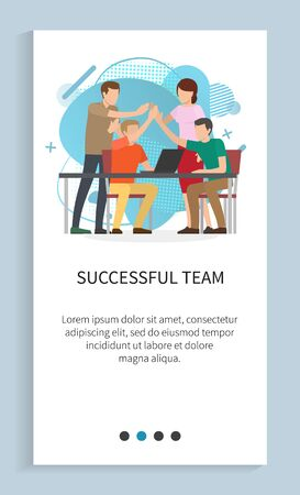 Successful team vector, man and woman working in park, teamwork bringing success and achievements, programer with laptop, computer coder. Website or app slider template, landing page flat style