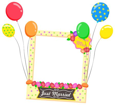 Just married vector, isolated photozone accessories flat style. Composition for photo with inflatable balloons and flowers, frame with text for weddings photography. Mrs and mr newlywed zone