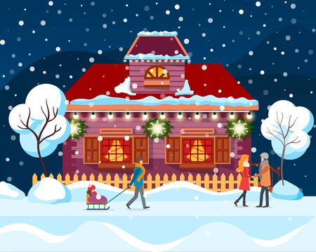Street in winter city vector. People standing by fence of house decorated for christmas celebration. Snowing weather in evening. Mother walking with kid sitting on sledges. Trees covered with snow Illustration