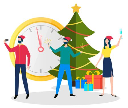 People celebration winter holidays near traditional symbol Christmas tree, present box and clock. Man and woman wearing Santa hat making selfie together. Male and female shooting with gifts vector