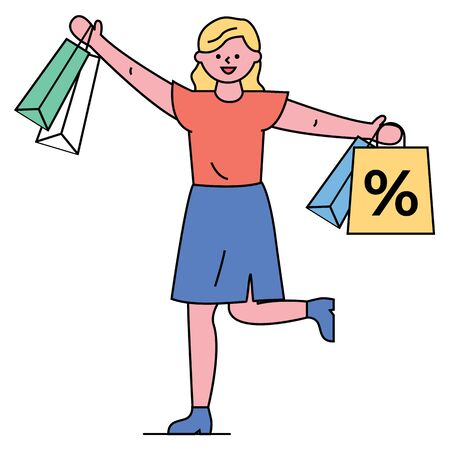 Shopping female character vector, isolated woman carrying bags with percent symbol. Clearance in shops and stores, lady with purchases in hands. Jumping girl with packets and bought goods flat style