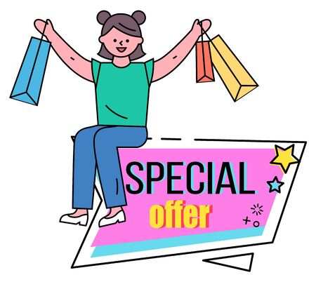 Woman sitting and holding vector shopping bags in hands. Big clearance in stores, black friday sale. Special offer on products. Best discounts and clearance in shops. Promotion caption on pink label
