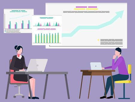 Woman manager wearing headset using laptop, people communication with computer. Board with growth report, finance and investment, teamwork vector Standard-Bild - 134306648