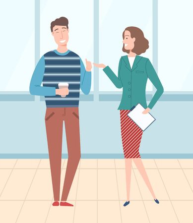 Man and woman working in office, people talking on coffee break. Lady with papers documents and man with cup of tea warm beverage, employee flat style