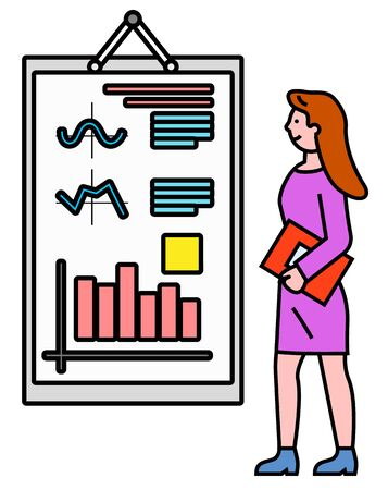 Business seminar and explanation of data on board, isolated character at work. Woman with document giving report on whiteboard. Flowcharts and information in segments flat style vector illustration