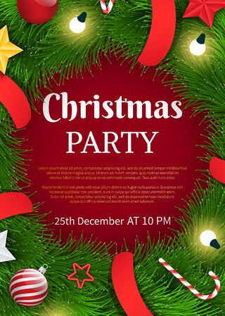 Christmas party on 25th of December. Xmas celebration, traditional holiday illustration. Green wreath of fir branches and red ribbon. Vector light lamps on garland, decoration for event celebration