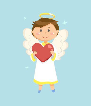 Cupido con cuore, simbolo di San Valentino, vettore di ragazzo angelo. Aureola e ali, celebrazione delle vacanze d'amore, creatura paradisiaca o creatore di fiammiferi, bambino vestito