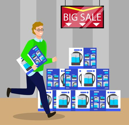 Big sale and clearance in shop. Man running holding kettle box, new purchase in electronics store. Appliances for home. Shopping character using deals and discounts at market vector in flat style Illusztráció