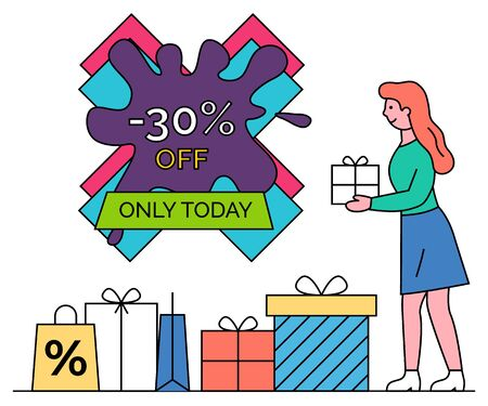 Sale and discounts vector, blot shape banner and woman with present. Shopping female character holding box decorated with wrapping paper. Bag with percentage, reduction and promotions from shops