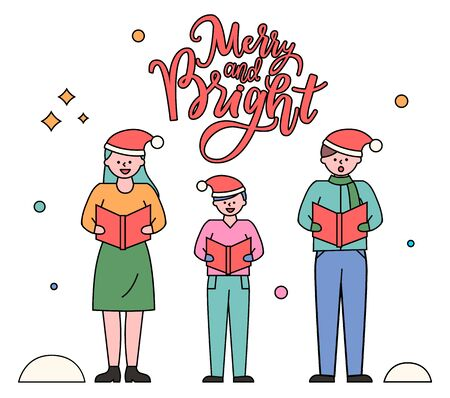 Christmas tradition of singing songs on christmas vector, father and mother with kid caroling. Greeting card with calligraphic inscription. Postcard with parents and kid performing traditional carols