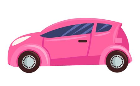 Small car isolated on white background. Pink microcar for girls with toned glasses, three doors and four wheels. Auto to drive and get your destination quickly. Vector illustration in flat style Ilustracja