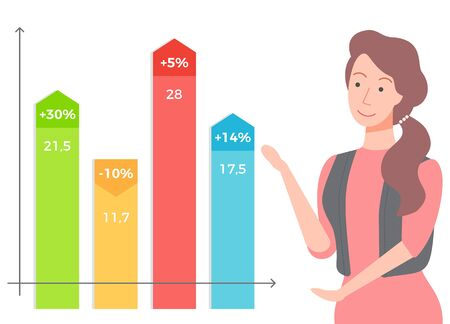 Female character working on stats and data analysis vector, isolated woman with charts and graphics. Percent and explanation, secretary with information 向量圖像