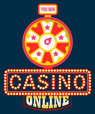 Casino online vector, shining signboard with retro bulbs. Fortune wheel with spinning circle and money sum, gaming and gambling. Lucky circle or lucky rotation. Wheel luck in flat style Ilustrace