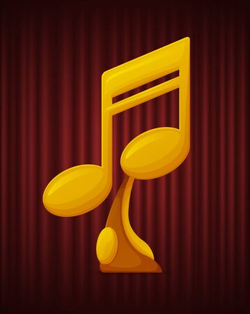 Golden trophy in form of note. Music award for players and singers. Prizes for winners in competitions. Championship and victory vector illustration Illustration