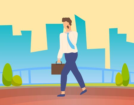 Businessman walking on road and talking on telephone. Business person dressed in suit, has tie and suitcase. Silhouette of buildings and skyscrapers, cityscape view on background. Vector in flat style