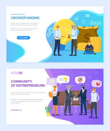 Community of entrepreneurs vector, hipster animals on meeting crowdfunding, pile of money in bags, lightbulb, fox and raccoon, koala set. Website or webpage template, landing page flat style Ilustracja