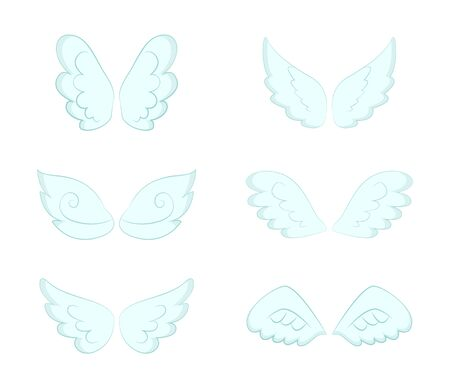 Angel Wings pairs vector, isolated set. Bluish wide plumage of angelic and heavenly creatures, symbol of freedom and purity. Decorative feathers. Flight and cupid accessory