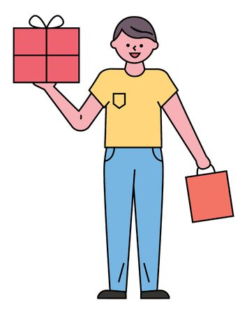 Guy stand and hold red vector package and bag in hands. Man bought goods or gifts on black friday in store, shop. Box with present inside and tied by ribbon. Person in yellow shirt and blue jeans