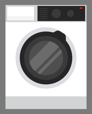 Washing machine with control panel. Electric appliance for cleaning clothes and fabric cloth. Washer and dryer, equipment with drum and timer. Contemporary device for housekeeping vector in flat
