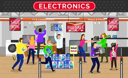 People at electronics buying appliances and devices for home. Character quarreling and arguing about purchases. Washing machine and computer, television and kettle in boxes vector illustration