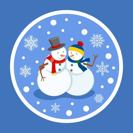 Male and female sculptures made of snow, isolated winter characters under snowfall. Snowflakes and bokeh effect. Man and woman snowman with hats and knitted scarves on snowballs sticker vector 向量圖像