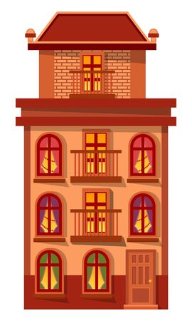 Home with windows and entrance exterior vector. Isolated building with lights from rooms. Estate made of brick or stone. Modern or vintage architecture of city. Facade of home for citizens flat style