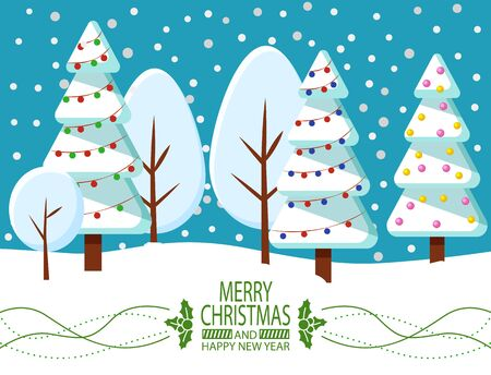 Merry Christmas and Happy New Year greeting card with snowy fir-tree. Winter holiday postcard with Xmas tree decorated by garland. Invitation with snowfall weather and forest with blue sky vector