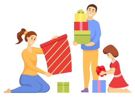 Family preparation for Christmas holiday together. Mother sitting with daughter and making colorful gift, man standing with present. People wrapping box with ribbon and bow, Xmas celebration vector Imagens - 134306845
