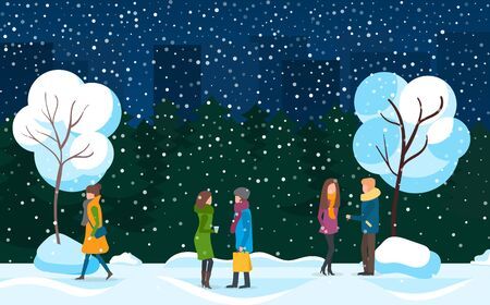 Winter evening snowfall and people vector. Neighbors female friends talking in park at night. Couple man and woman standing by tree covered with snow. Lady wearing warm clothes walking home flat style Ilustracja