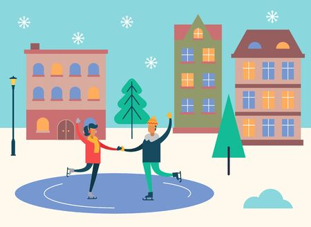Wintertime activities vector, man and woman dancing on ice skating rink. People in snowy weather spending time outdoors. Couple in front of homes and pine trees in town. Winter holidays flat style