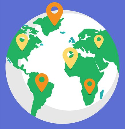 Logistics worldwide B2b, globe with location symbol on countries. Planet with colorful continents, gps object, shipping tracking, international delivery technology, earth symbol on blue, trade vector