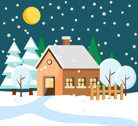 Building with chimney and roof covered with snow. Winter in city or village. Night town with moon at sky and snowfall. Landscape with pine trees and snowy hills estate in countryside flat style vector