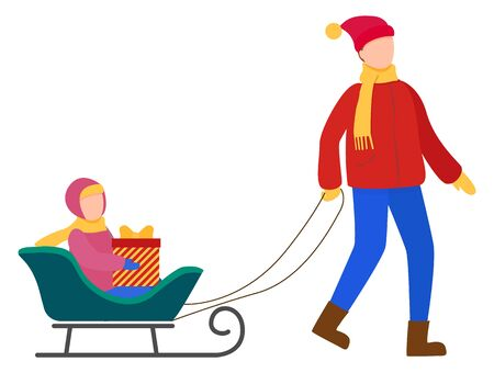 Family walking together outdoor in winter. Father rides his child on sled. People strolling in warm clothes like hat and scarf. Kid sitting on sleigh with present in box. Vector in flat style