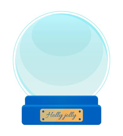 Snow globe, isolated bauble made of glass with pedestal of wood. Empty ball with inscription on label. Decoration in winter season and christmas time. Toy for kids and adults flat style vector Ilustracja