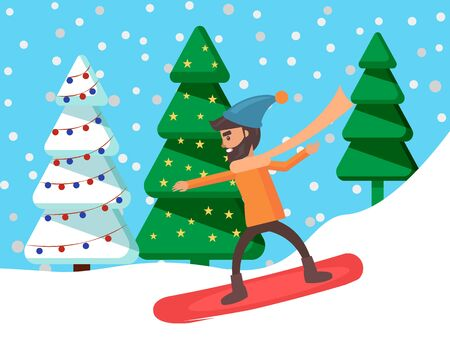 Man sliding on snowboard on mountain hill. Young snowboarder not afraid of extreme sport. Guy doing recreational wintertime activity. Person in forest or wood. Vector illustration in flat style 일러스트