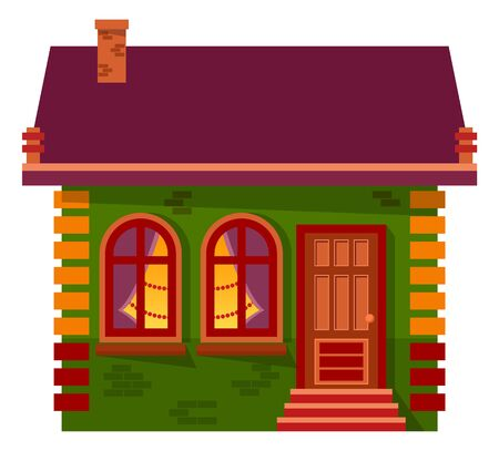 Christmas or New Year celebration at home vector. Isolated building with pine tree decorated inside. House with entrance and windows, roof and chimney. Estate or winter chalet flat style illustration