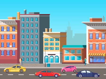 Urban landscape with modern infrastructure, buildings and busy road with cars and vehicles. City transport, traffic on street. Cityscape with houses facades. Highway with colorful cars. Flat cartoon