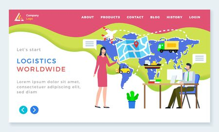 Logistics worldwide, man and woman communication with computer, international delivery. Shipping tracking on map, send parcel, business and e-commerce. App slider or webpage template, landing page Ilustracja