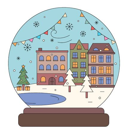 Winter city with homes and houses vector. Isolated glass snowball with buildings and decoration of street. Pine tree with presents under fir, snowy ground and flags decor. Bauble with snowflakes