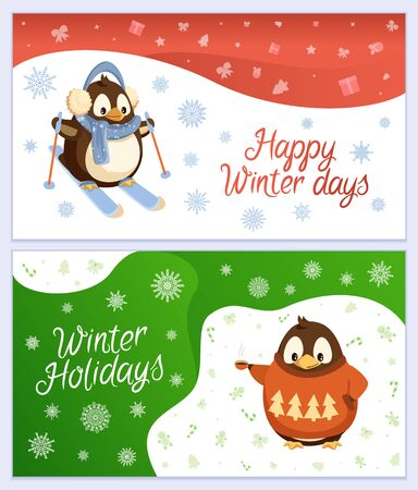 Happy winter holidays vector, set of greeting card with animals. Penguin wearing warm clothes skiing outdoors. Bird in sweater with pine tree print holding cup of hot beverage, coffee or tea