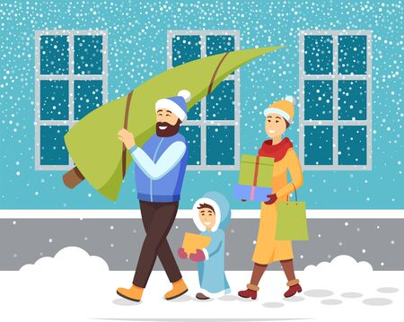 Winter holidays preparation vector, family with purchases from stores. Mother and father with kid returning home from shopping. Bearded man holding pine tree in hands. Snowy weather in city street