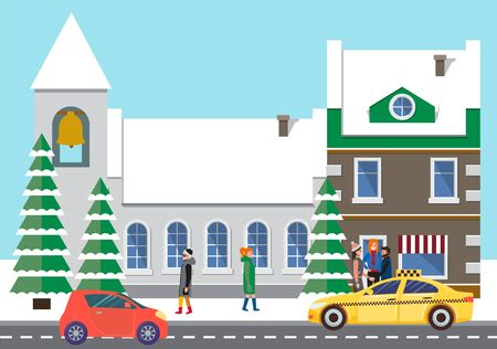 Red microcar and yellow taxi on city asphalted street, road. Great building on background and people standing near it in warm coats. Winter in town and fir trees stand with snow. Vector illustration