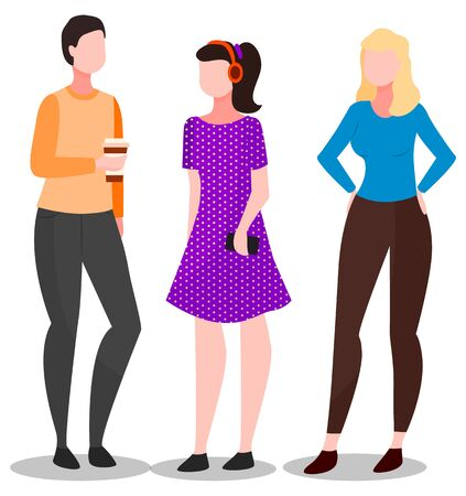 Ladies in casual clothes standing together. Big discount sale for shopaholics females. Purchaser or seller characters speaking, girl holding cup of coffee. Marketing element, woman buyer vector Vektorové ilustrace