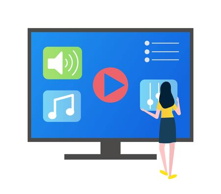 Person using smart TV screen vector, monitor with playing button, music and settings signs flat style, plasma with options and icons isolated user