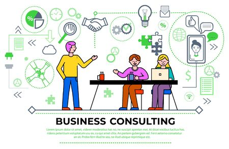 Business consulting meeting of workers, businesspeople brainstorming and discussing problems. Man and woman with laptop and tutor. Diagrams and charts, gears and magnifying glass icon vector Ilustración de vector