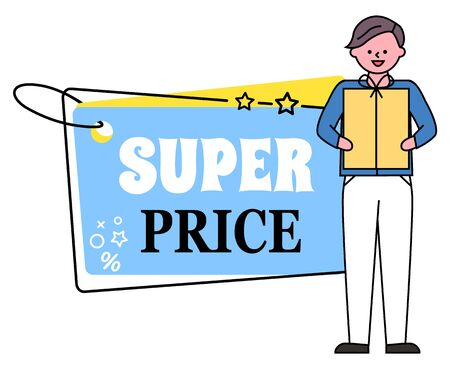 Super price banner in form of tag vector. Man holding present in hands. Shopping personage with gift bought with discount in store. Shopper holding box on holiday. High quality of production