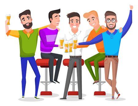 Grupo de hombres sonrientes bebiendo cerveza, novio con amigos celebrando. Despedida de soltero interior, personajes masculinos sentados en sillas con malta, vector de vacaciones