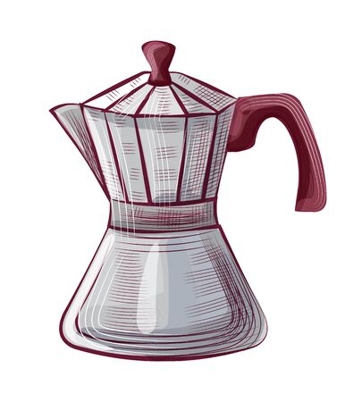 Old-fashioned moka pot for brewing espresso coffee, steel java equipment with handle and lid. Drawing object, roasted coffee, shop object, beverage vector Stock fotó - 134307051