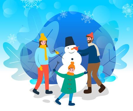 Mother and father with daughter sculpting snowman of snow vector. Child and parents playing outdoors. Wintertime recreation of couple and kid. Sculpture with bucket on head and carrot nose flat style