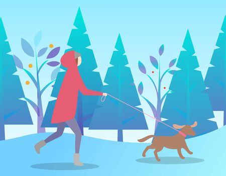 Female running with dog in park, leisure or winter holiday in forest. Woman leading domestic animal near fir-trees in snowy weather. Person wearing warm clothes for walking in frost weather vector